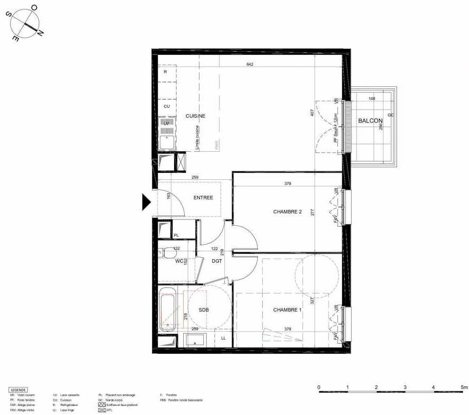 Plan 312, appartement neuf type T3 au 1er étage, orienté Nord faisant 63m² du programme neuf LES JARDINS BALZAC BAT 2 à Argenteuil.