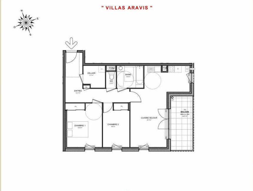 Plan 312, appartement neuf type T3 au 1er étage, orienté Sud faisant 70m² du programme neuf Villas Aravis à Saint-Pierre-en-Faucigny.