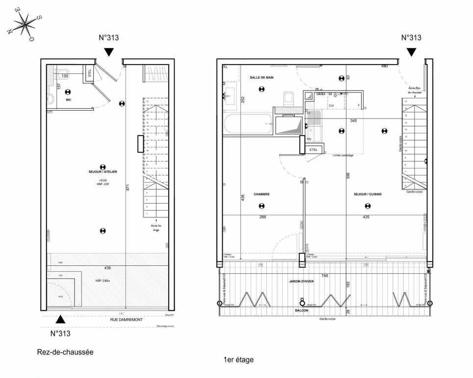 Plan 313, appartement neuf type T3 au 1er étage, faisant 80m² du programme neuf 122 Damremont à Paris.