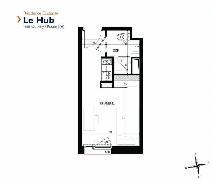 Plan 313, appartement neuf type T1 au 3ème étage, faisant 18m² du programme neuf Le Hub à Le Petit-Quevilly.