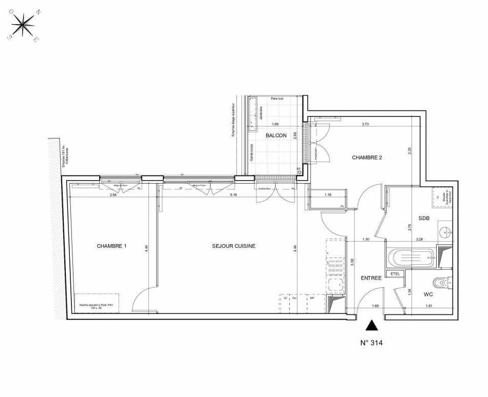 Plan 314, appartement neuf type T3 au 1er étage, orienté Nord faisant 64m² du programme neuf Arboria à Drancy.