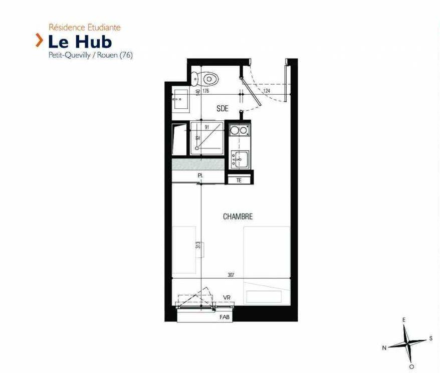 Plan 314, appartement neuf type T1 au 3ème étage, faisant 18m² du programme neuf Le Hub à Le Petit-Quevilly.