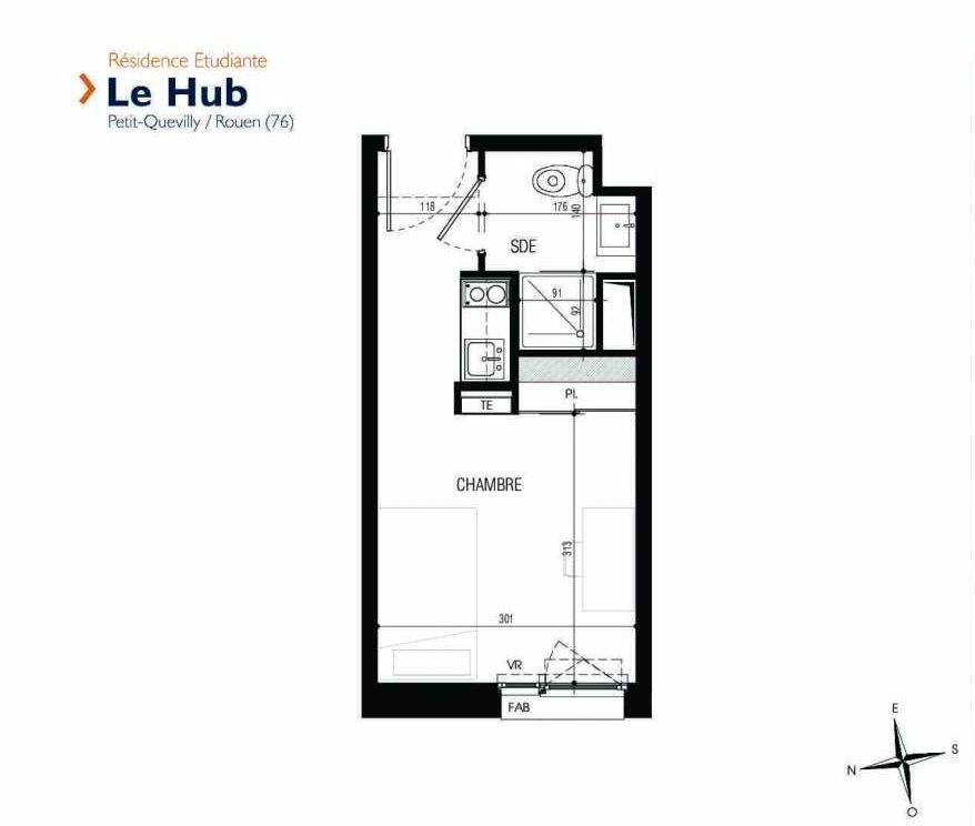 Plan 315, appartement neuf type T1 au 3ème étage, faisant 17m² du programme neuf Le Hub à Le Petit-Quevilly.