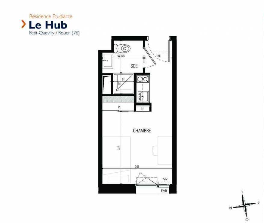 Plan 316, appartement neuf type T1 au 3ème étage, faisant 17m² du programme neuf Le Hub à Le Petit-Quevilly.