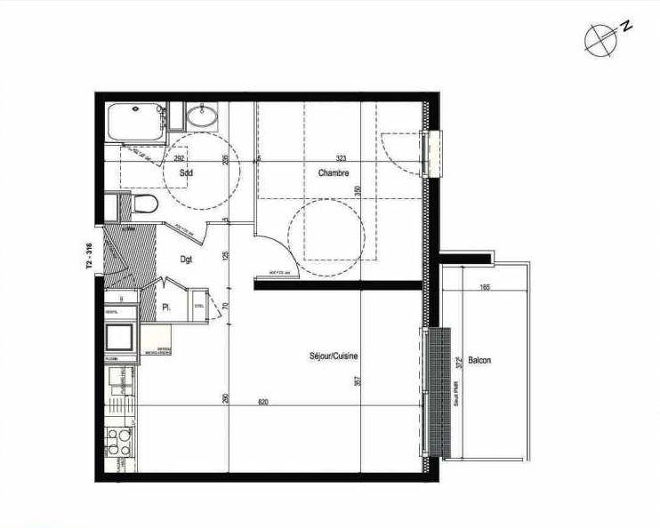 Plan 316, appartement neuf type T2 au 3ème étage, faisant 42m² du programme neuf Les Boréales à Rouen.