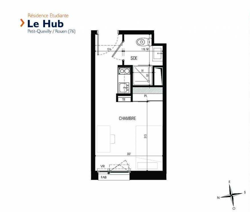 Plan 317, appartement neuf type T1 au 3ème étage, faisant 18m² du programme neuf Le Hub à Le Petit-Quevilly.