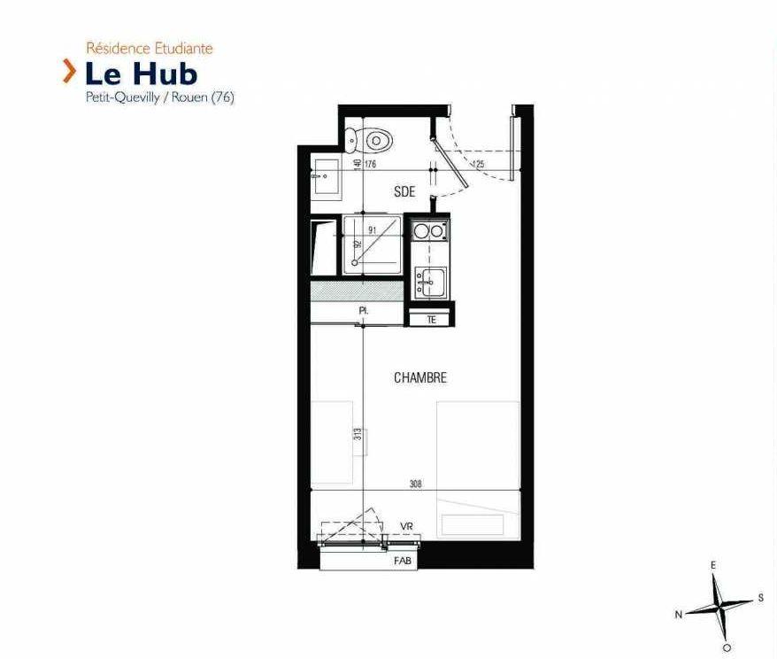 Plan 318, appartement neuf type T1 au 3ème étage, faisant 18m² du programme neuf Le Hub à Le Petit-Quevilly.