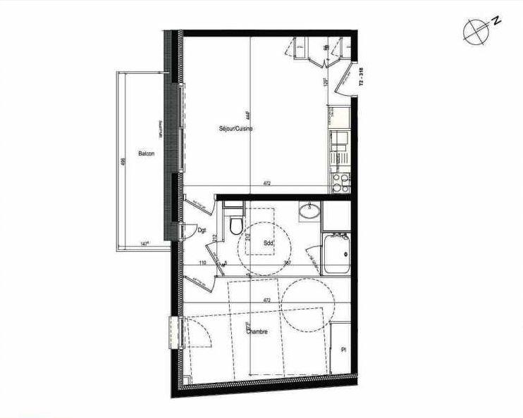 Plan 318, appartement neuf type T2 au 3ème étage, faisant 43m² du programme neuf Les Boréales à Rouen.