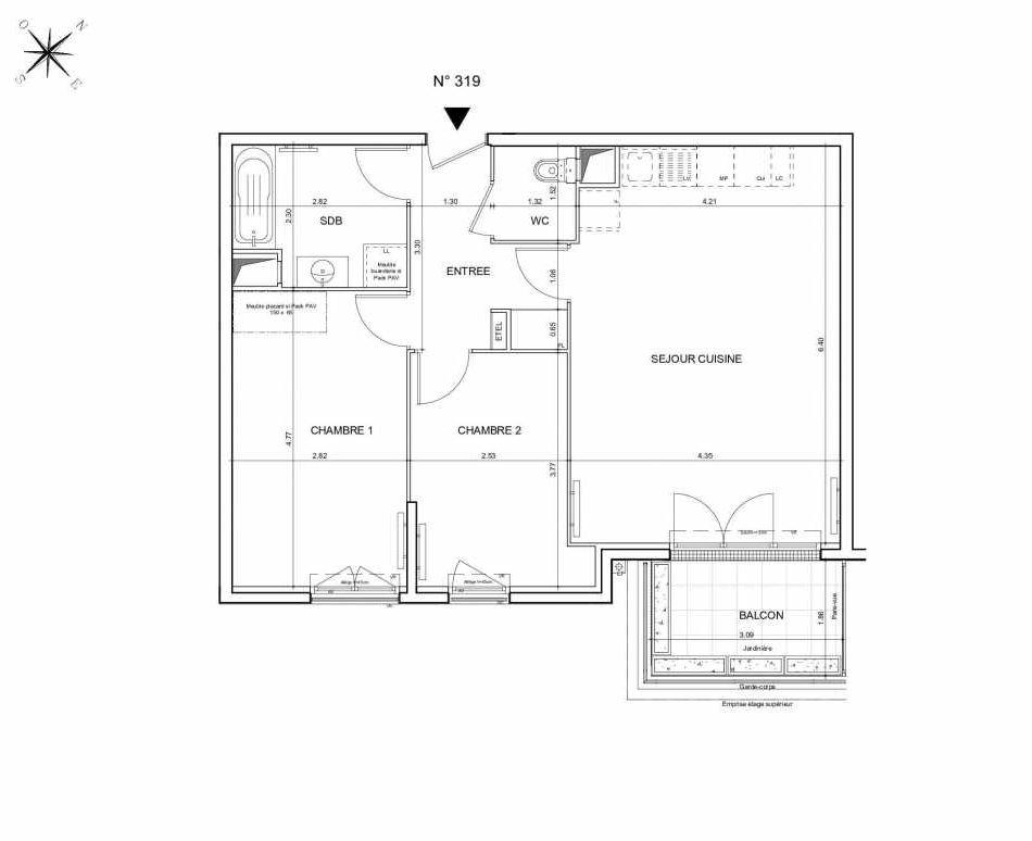 Plan 319, appartement neuf type T3 au 1er étage, orienté Sud faisant 65m² du programme neuf Arboria à Drancy.