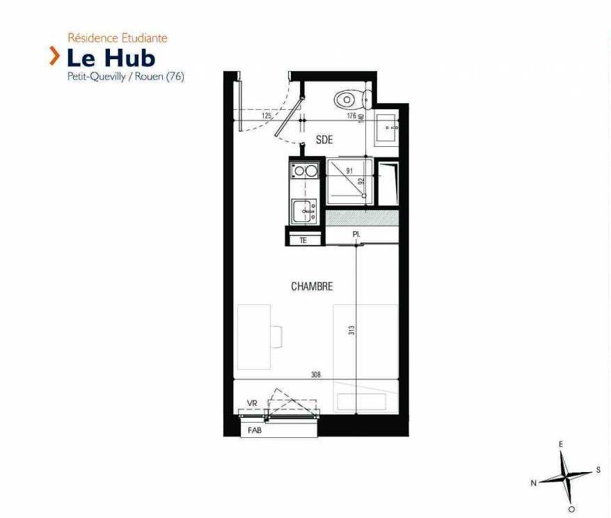 Plan 319, appartement neuf type T1 au 3ème étage, faisant 18m² du programme neuf Le Hub à Le Petit-Quevilly.