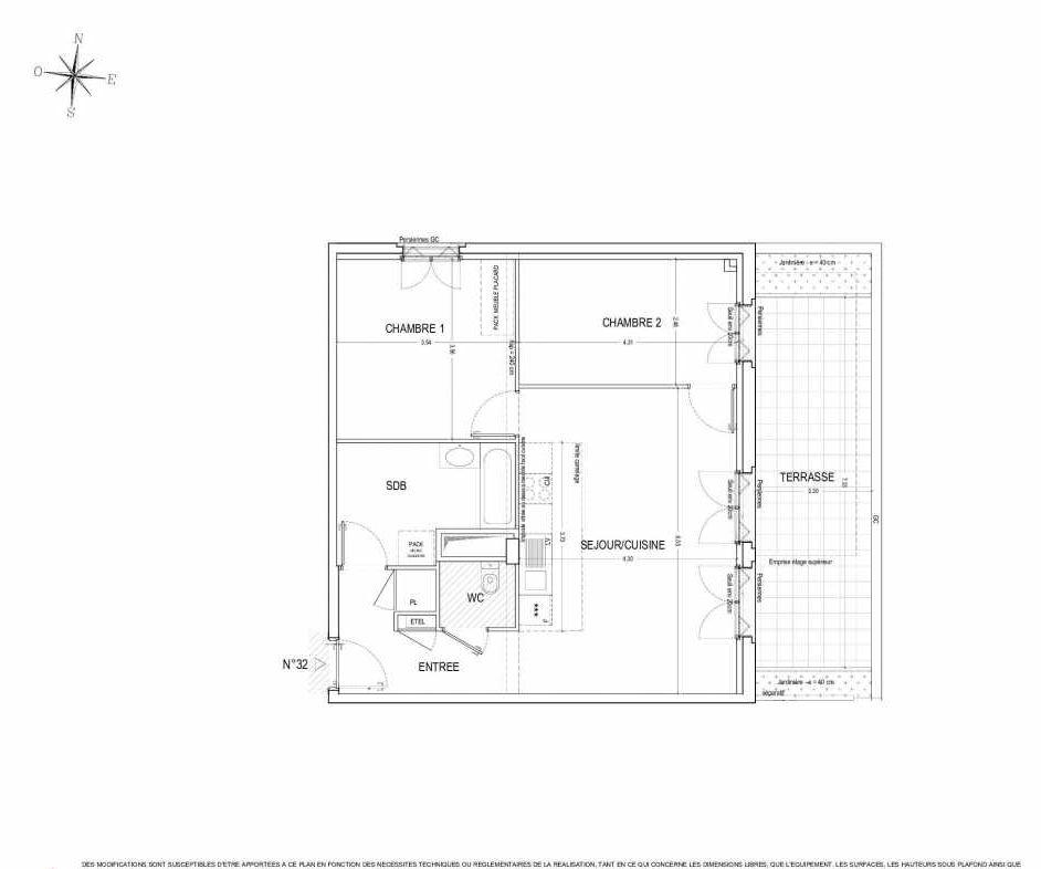 Plan 32, appartement neuf type T3 au 3ème étage, orienté Est faisant 65m² du programme neuf ALLURE à Nantes.