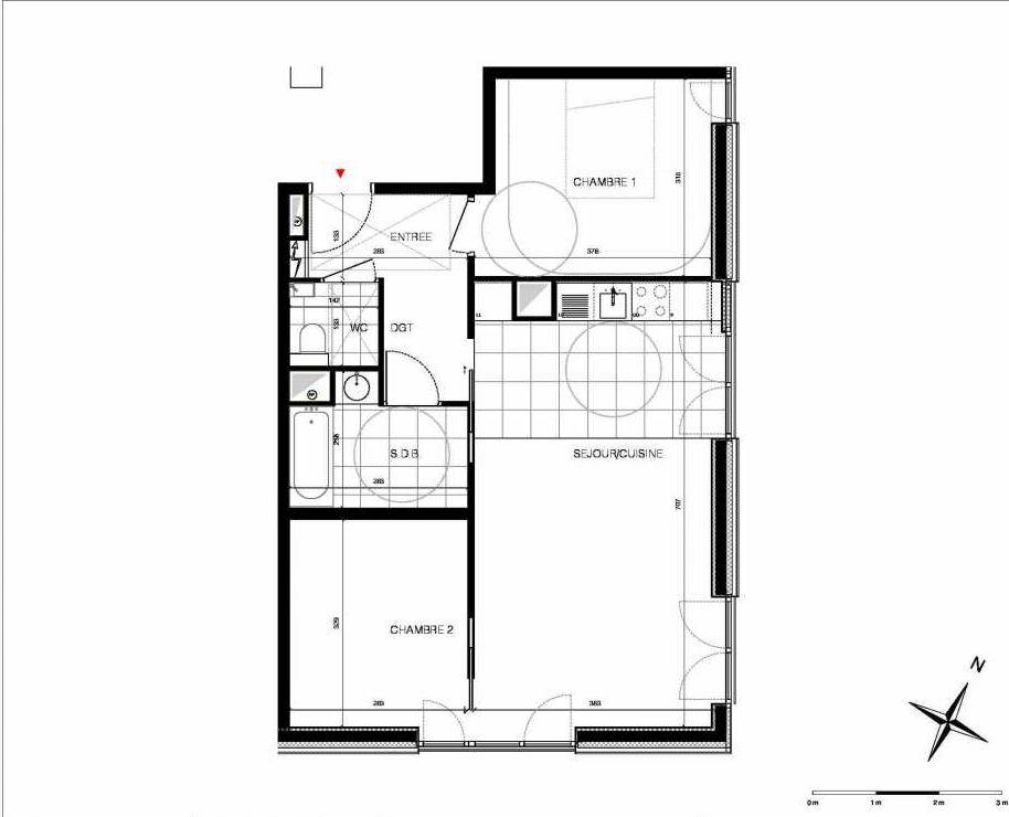 Plan 32, appartement neuf type T3 au 3ème étage, orienté Est faisant 62m² du programme neuf CUBIK - PARIS 13 à Paris.
