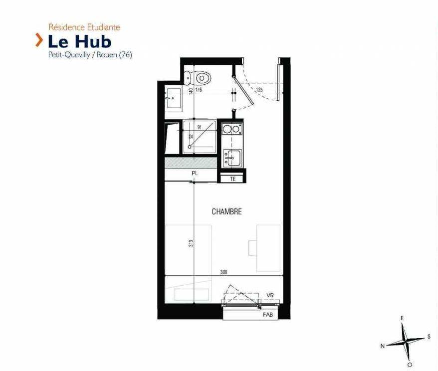 Plan 320, appartement neuf type T1 au 3ème étage, faisant 18m² du programme neuf Le Hub à Le Petit-Quevilly.