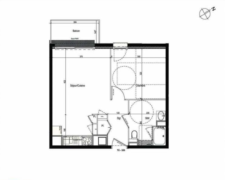 Plan 320, appartement neuf type T2 au 3ème étage, faisant 42m² du programme neuf Les Boréales à Rouen.