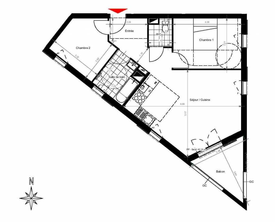 Plan 3201, appartement neuf type T3 au 2ème étage, orienté Sud faisant 62m² du programme neuf CITY PARK CAGE 3 à Gonesse.