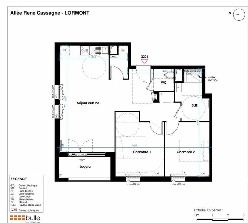 Plan 3201, appartement neuf type T3 au 2ème étage, orienté Est faisant 65m² du programme neuf LES JARDINS D'ANAIS BOTERO à Lormont.