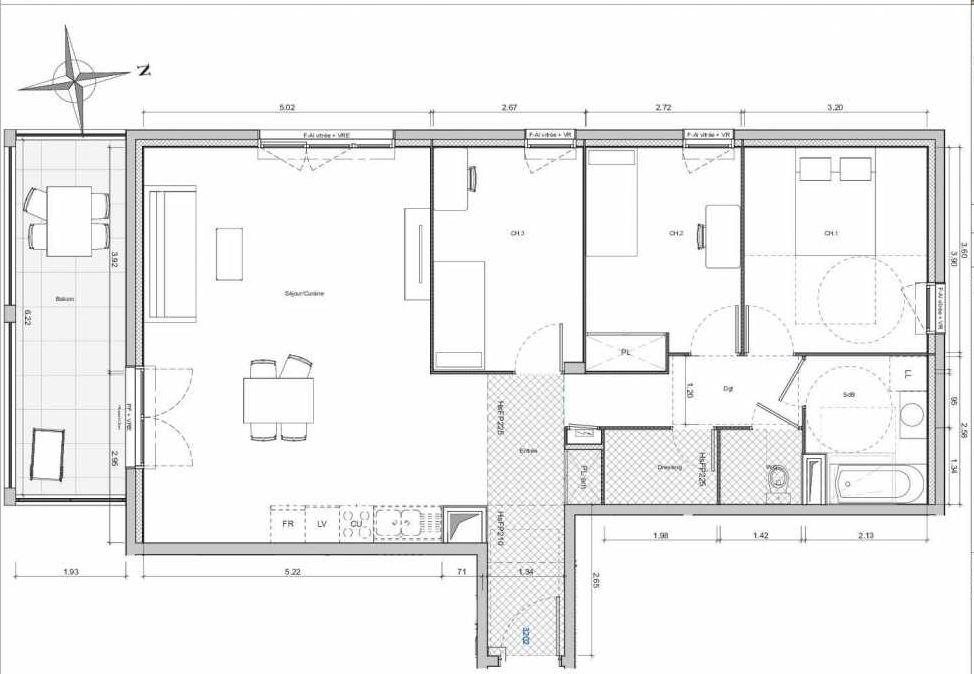 Plan 3202, appartement neuf type T4 au 2ème étage, orienté Sud faisant 91m² du programme neuf 1887 - TEMPO BATIMENT E à Dijon.