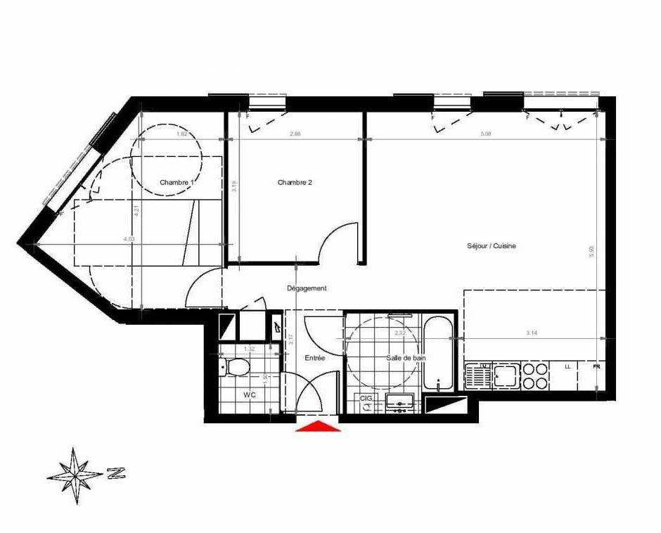 Plan 3202, appartement neuf type T3 au 2ème étage, orienté Ouest faisant 61m² du programme neuf CITY PARK CAGE 3 à Gonesse.