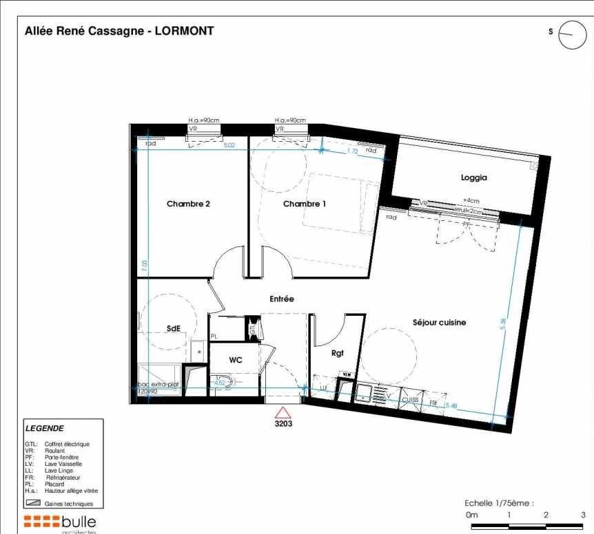Plan 3203, appartement neuf type T3 au 2ème étage, orienté Ouest faisant 64m² du programme neuf LES JARDINS D'ANAIS BOTERO à Lormont.