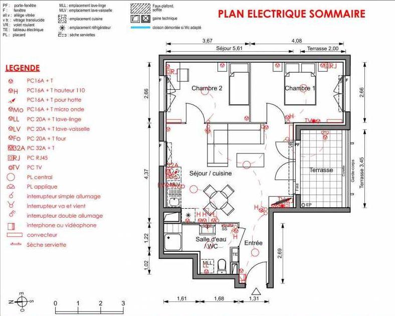 Plan 3205, appartement neuf type T3 au 2ème étage, orienté Nord faisant 53m² du programme neuf LIGNE BLEUE BATS C-D-E-F à Marseille.