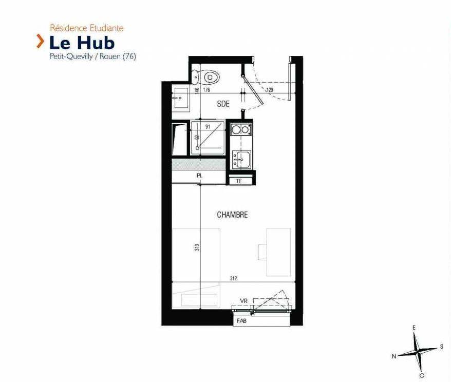 Plan 321, appartement neuf type T1 au 3ème étage, faisant 18m² du programme neuf Le Hub à Le Petit-Quevilly.