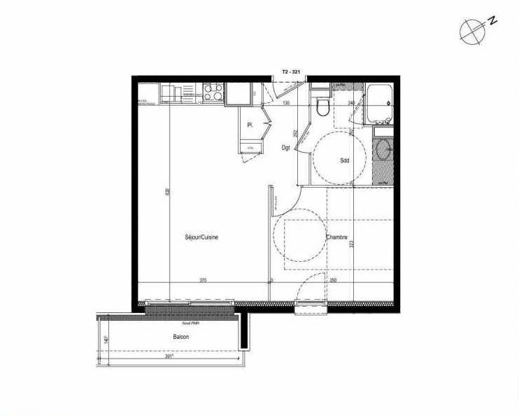 Plan 321, appartement neuf type T2 au 3ème étage, faisant 43m² du programme neuf Les Boréales à Rouen.