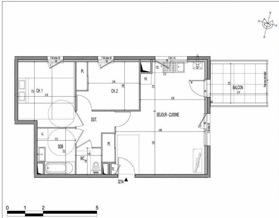 Plan 321A, appartement neuf type T3 au 2ème étage, faisant 59m² du programme neuf VILLA PIEMONT à Villeurbanne.
