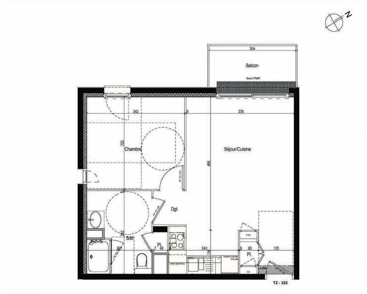 Plan 322, appartement neuf type T2 au 3ème étage, faisant 43m² du programme neuf Les Boréales à Rouen.