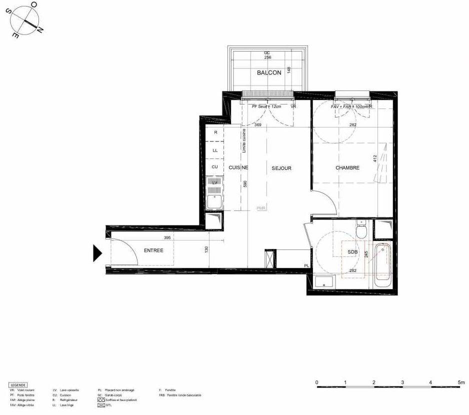 Plan 322, appartement neuf type T2 au 2ème étage, orienté Sud faisant 43m² du programme neuf LES JARDINS BALZAC BAT 2 à Argenteuil.
