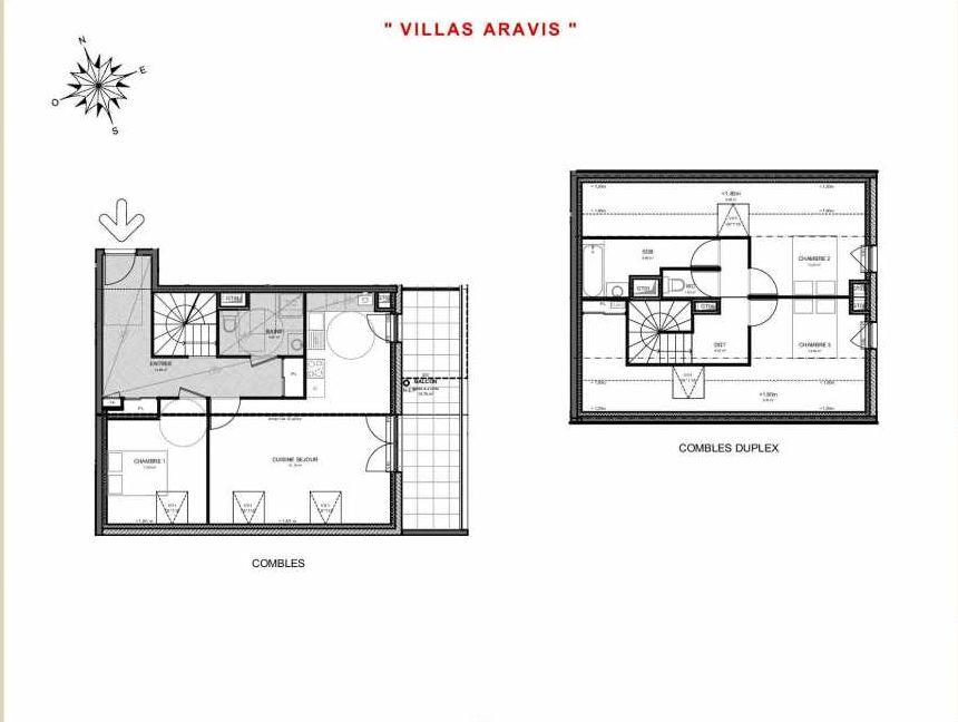 Plan 322, appartement neuf type T4 au 2ème étage, orienté Sud faisant 103m² du programme neuf Villas Aravis à Saint-Pierre-en-Faucigny.