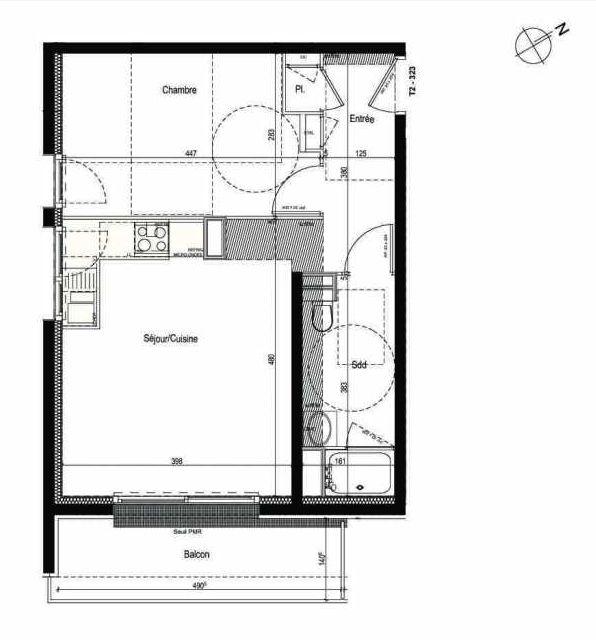 Plan 323, appartement neuf type T2 au 3ème étage, faisant 42m² du programme neuf Les Boréales à Rouen.