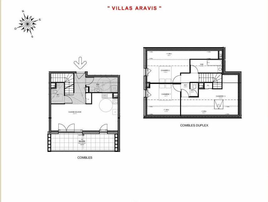 Plan 323, appartement neuf type T4 au 2ème étage, orienté Sud faisant 87m² du programme neuf Villas Aravis à Saint-Pierre-en-Faucigny.
