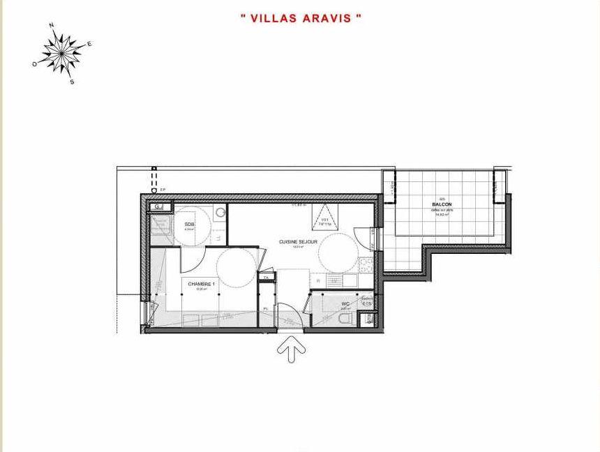 Plan 325, appartement neuf type T2 au 2ème étage, orienté Est faisant 38m² du programme neuf Villas Aravis à Saint-Pierre-en-Faucigny.
