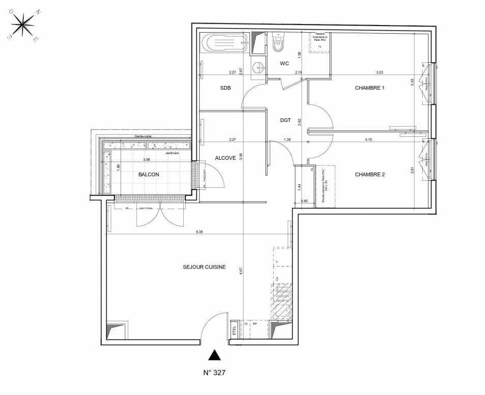 Plan 327, appartement neuf type T3 au 2ème étage, orienté Nord faisant 74m² du programme neuf Arboria à Drancy.