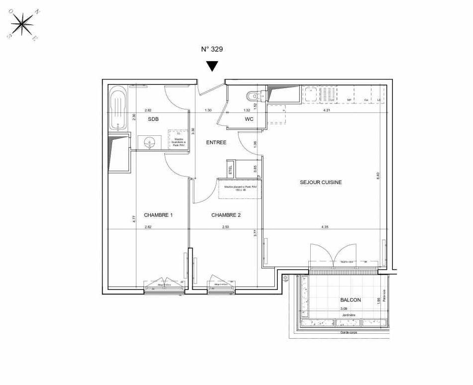Plan 329, appartement neuf type T3 au 2ème étage, orienté Sud faisant 64m² du programme neuf Arboria à Drancy.