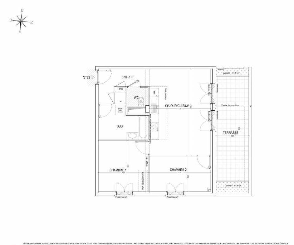 Plan 33, appartement neuf type T3 au 3ème étage, orienté Est faisant 65m² du programme neuf ALLURE à Nantes.