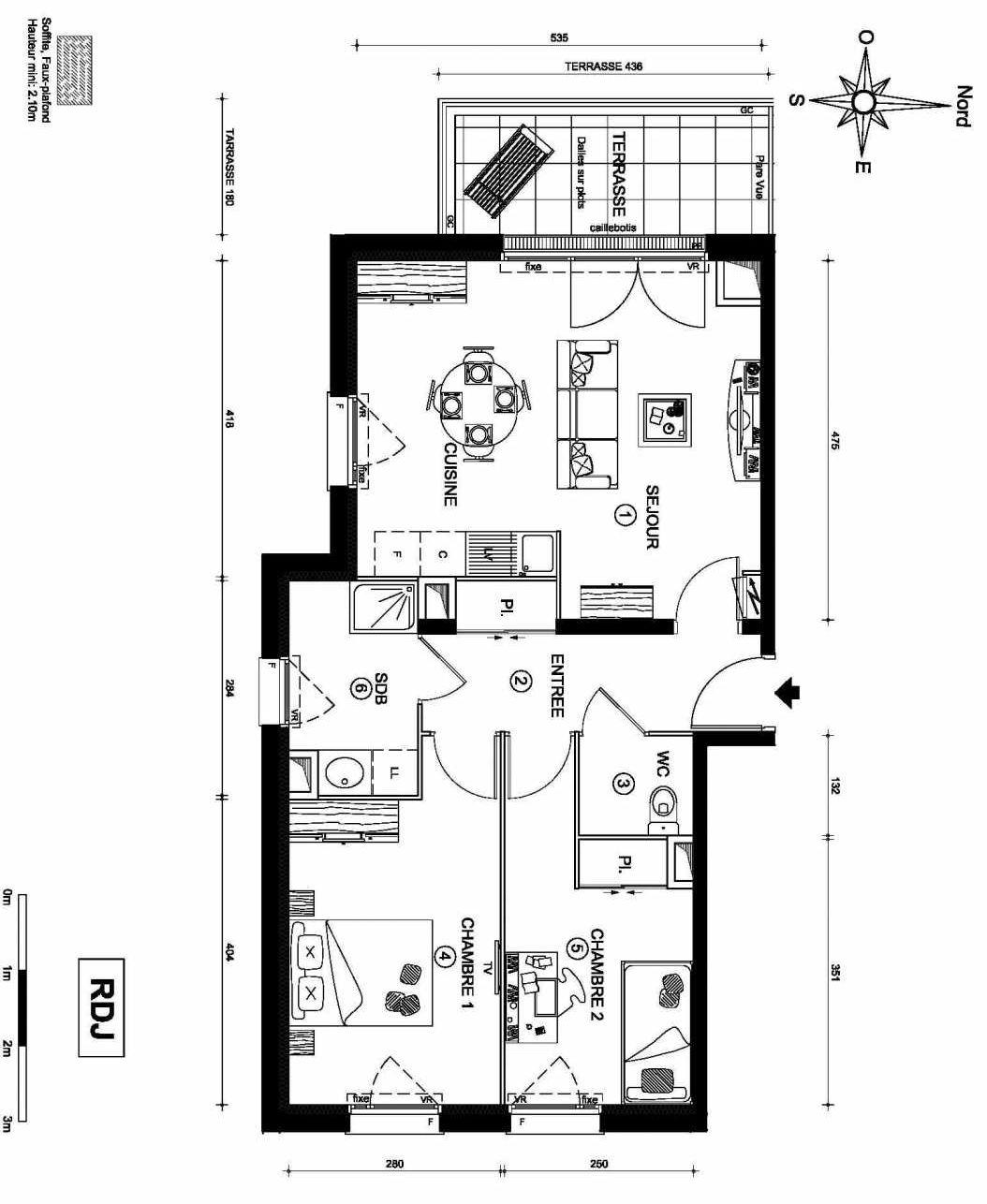 Plan 33, appartement neuf type T3 au Rez de jardin, orienté Nord faisant 59m² du programme neuf CONNEX'CITY CONNEX'CITY BAT 3 à Le Mans.