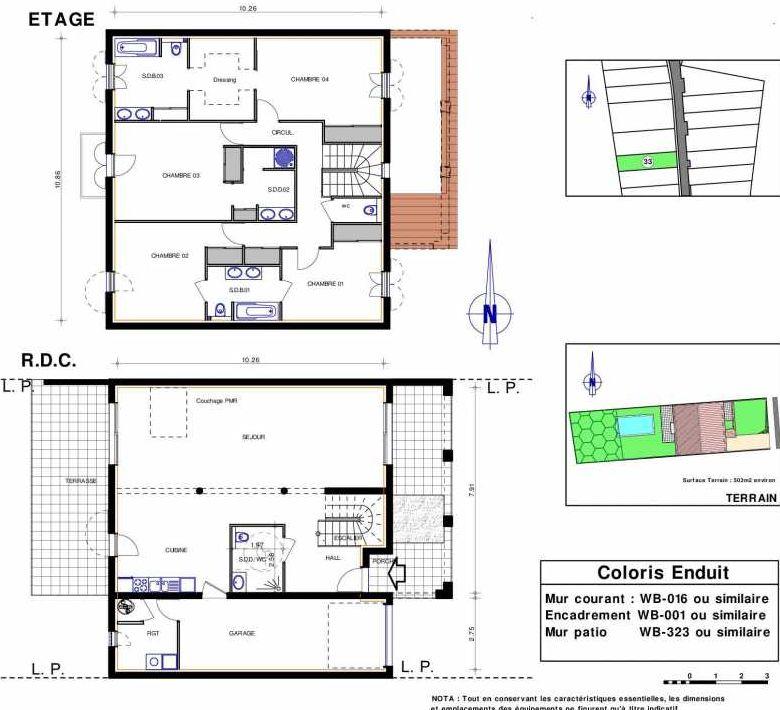 Plan 33, appartement neuf type T5 au Rez de chaussée, orienté Ouest faisant 182m² du programme neuf LES JARDINS D'ADELAIDE à Grimaud.