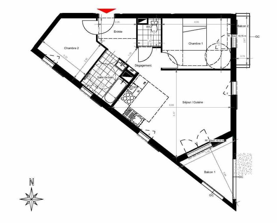 Plan 3301, appartement neuf type T3 au 3ème étage, orienté Sud faisant 62m² du programme neuf CITY PARK CAGE 3 à Gonesse.