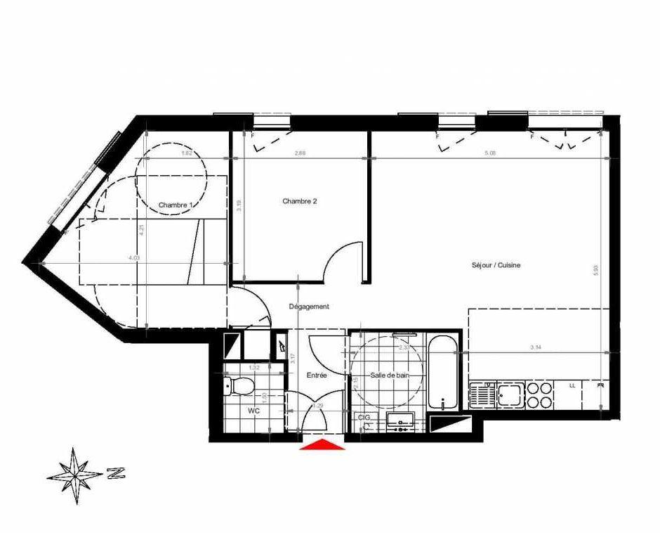 Plan 3302, appartement neuf type T3 au 3ème étage, orienté Ouest faisant 61m² du programme neuf CITY PARK CAGE 3 à Gonesse.