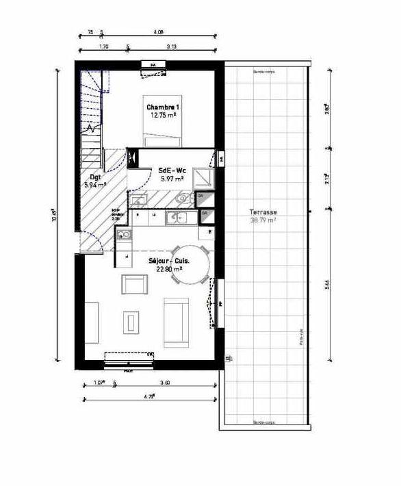 Plan 3303, appartement neuf type T4 au 3ème étage, orienté Nord faisant 77m² du programme neuf EMERGENCE LOTS 3001-3303 à Bussy-Saint-Georges.