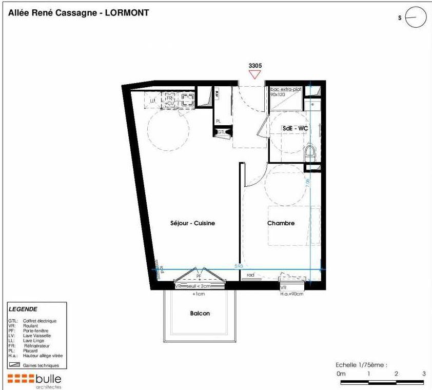 Plan 3305, appartement neuf type T2 au 3ème étage, faisant 43m² du programme neuf LES JARDINS D'ANAIS à Lormont.