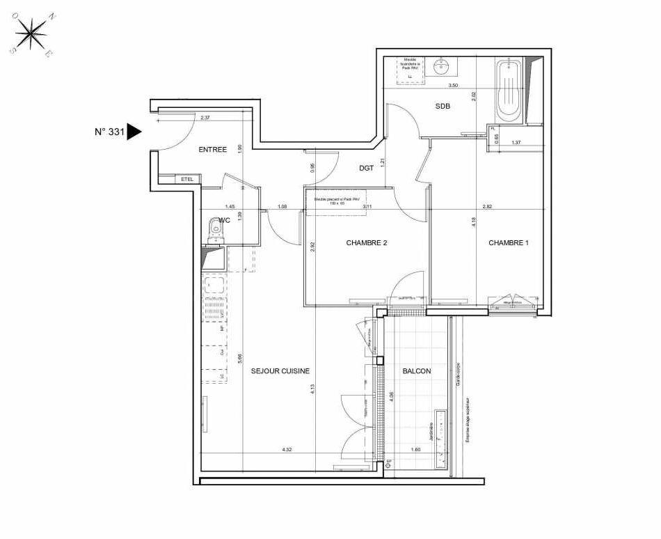 Plan 331, appartement neuf type T3 au 3ème étage, orienté Nord faisant 62m² du programme neuf Arboria à Drancy.