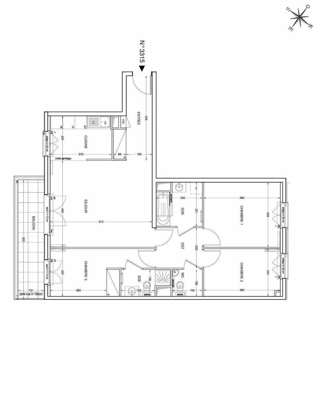 Plan 3315, appartement neuf type T4 au 3ème étage, faisant 82m² du programme neuf UNANIME à Clichy.