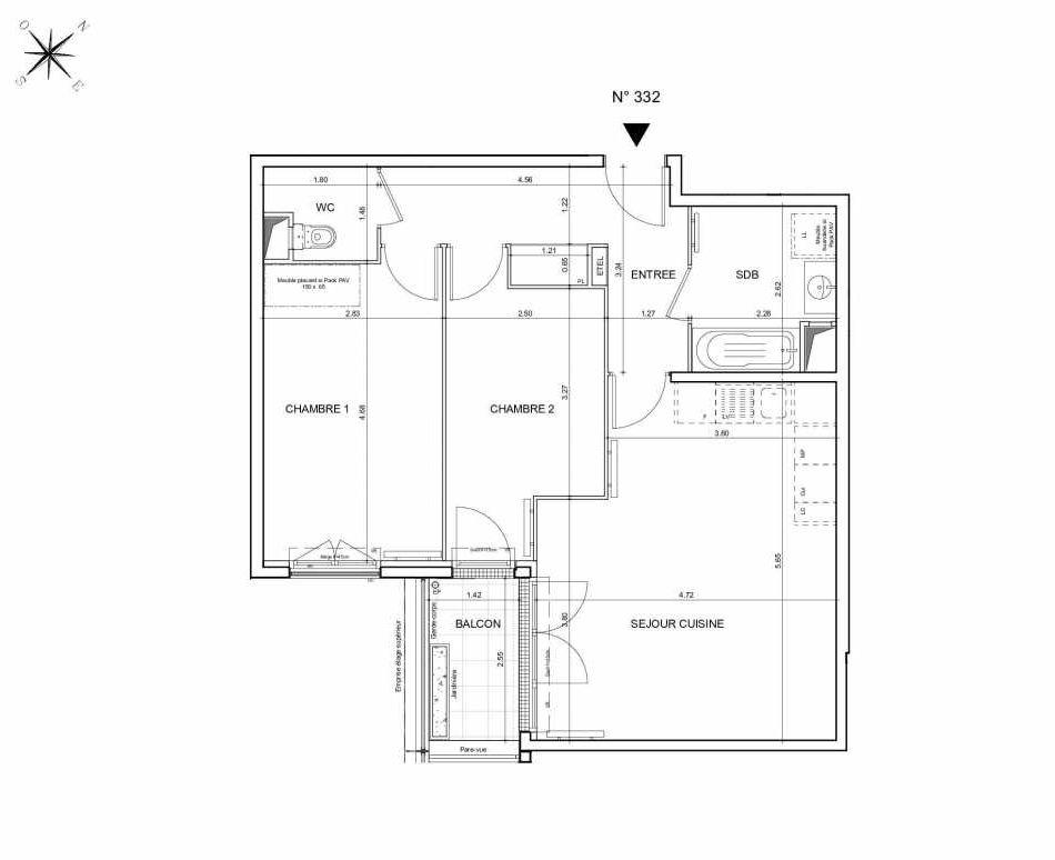 Plan 332, appartement neuf type T3 au 3ème étage, orienté Sud faisant 65m² du programme neuf Arboria à Drancy.