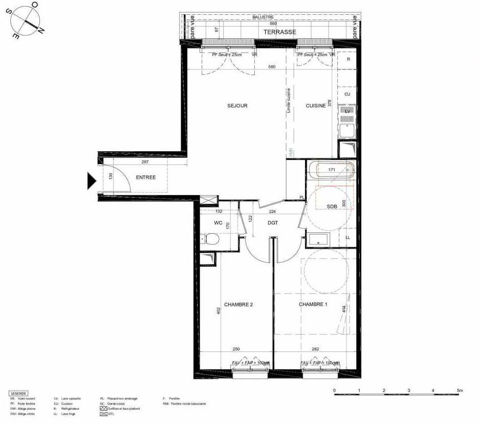 Plan 332, appartement neuf type T3 au 3ème étage, orienté Sud faisant 63m² du programme neuf LES JARDINS BALZAC BAT 2 à Argenteuil.