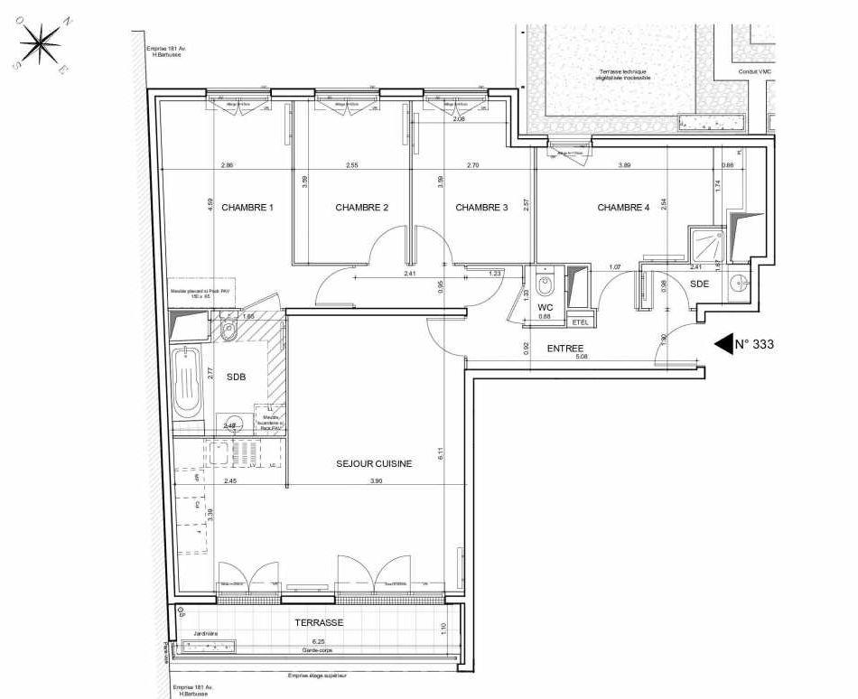 Plan 333, appartement neuf type T5 au 3ème étage, orienté Sud faisant 96m² du programme neuf Arboria à Drancy.