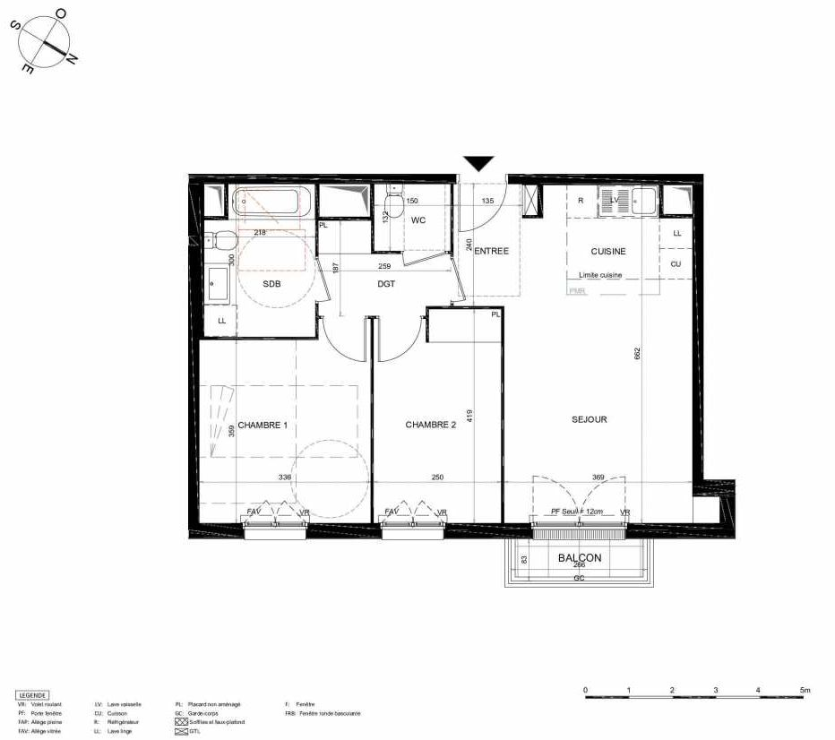 Plan 333, appartement neuf type T3 au 3ème étage, orienté Nord faisant 61m² du programme neuf LES JARDINS BALZAC BAT 2 à Argenteuil.