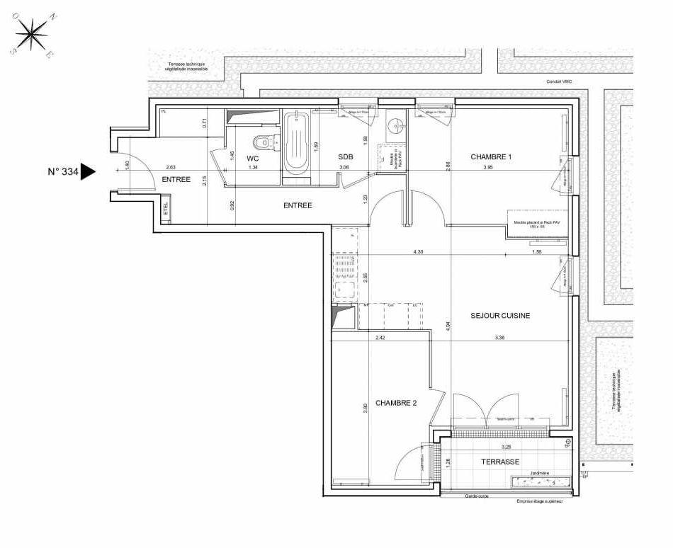 Plan 334, appartement neuf type T3 au 3ème étage, orienté Sud faisant 61m² du programme neuf Arboria à Drancy.
