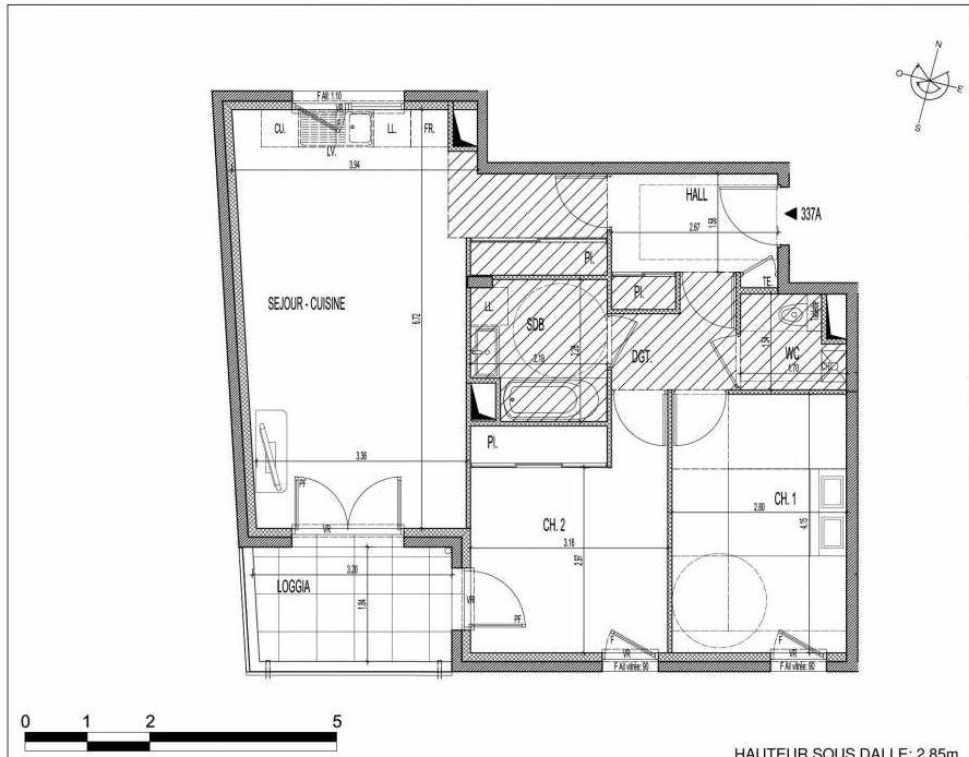 Plan 337A, appartement neuf type T3 au 3ème étage, faisant 65m² du programme neuf VILLA PIEMONT à Villeurbanne.